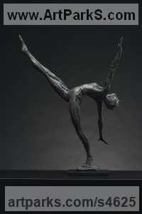 Bronze Females Women Girls Ladies Sculptures Statues statuettes figurines sculpture by Keith Calder titled: 'Layback female Dancer (Small/Little nude Ballet statuettes)'