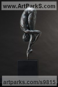 Bronze Human Form: Abstract sculpture by Keith Calder titled: 'Humility (Bending Bowing Ballerina Bronze statues)'