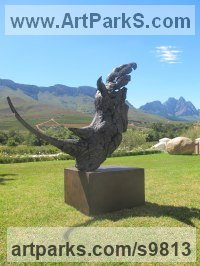 Bronze Endangered Animal Species sculpture by Keith Calder titled: 'White Rhino (Stylised Modern Head Bust sculptures)'
