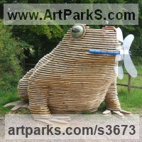 Wood/resin/copolyester Installation sculpture by Keith Gibbons titled: 'TOADSTACK (Giant Wooden Outdoor Squatting Toad garden sculpture)'