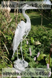Aluminium Tube and Sheeting Water Birds / Water Fowl / Seabirds / Waders sculpture by Kenneth Potts titled: 'Egret on Alert (Standing Water Bird statue/sculpture/statuette)'