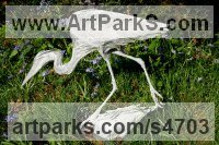 Aluminium Wild Bird sculpture by Kenneth Potts titled: 'Egret Stalking (Out Door Pond Side Snowy or Cattle statue sculptures)'