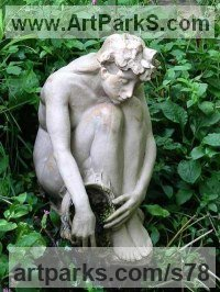 Stoneware Human Figurative sculpture by Kenneth Potts titled: 'Fountain Girl (Small nude lady garden statue/sculpture)'