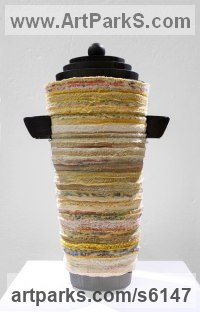 Recycled Textile and Wood Recycled Materials / Objets trouvees or Upcycle sculpture Statues statuettes sculpture by Kerstin Hedstr�m titled: 'Urn I (Modern Slow ArtTextile Interior sculpture)'