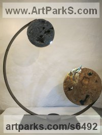 Steel, Elm Burr, Oak, patinised Copper Abstract Modern Contemporary Avant Garde sculpture statuettes figurines statuary both Indoor Or outside sculpture by sculptor Ket Brown titled: 'Blue Moon'