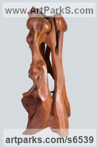 Bur elm Abstract Modern Contemporary Avant Garde sculpture statuettes figurines statuary both Indoor Or outside sculpture by sculptor Ket Brown titled: 'Complicity'