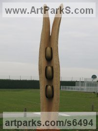 Oak Abstract Contemporary or Modern Outdoor Outside Exterior Garden / Yard sculpture statuary sculpture by sculptor Ket Brown titled: 'Trois Graines (Three Seeds)'