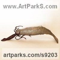 Bronze Endangered Animal Species sculpture by Kirk McGuire titled: 'bronze Sperm Whale and Giant squid battle sculpture'