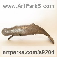 Bronze Dolphins, Whales, Porpoises, Seals, sculpture by Kirk McGuire titled: 'Bronze sperm whale sculpture'