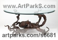 Bronze Octopus, Cuttle Fish, Squid, Pearly Nautilus Amonite sculpture by Kirk McGuire titled: 'Coffee Table Cephalopod (Big life size Octopus statue)'