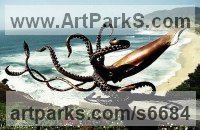 Bronze Painted Coloured Tinted Patinated Enamelled Sculptures Statues statuettes sculpture by Kirk McGuire titled: 'Giant (bronze Life Like Giant Sea Squid sculpture/statue/statuette)'