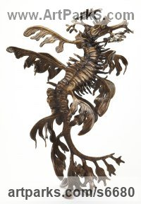 Bronze Other Aquatic Creatures Seahorse Star Fish Jellyfish Sea Urchins Sculptures Statues sculpture by Kirk McGuire titled: 'Leafy (Bronze leafy sea dragon Tabletop statuettes)'