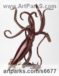 Bronze Octopus, Cuttle Fish, Squid, Pearly Nautilus Amonite sculpture by Kirk McGuire titled: 'Legend I (Bronze Realistic Giant Squid statue statuette sculpture)'