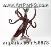 Bronze Octopus, Cuttle Fish, Squid, Pearly Nautilus Amonite sculpture by Kirk McGuire titled: 'Legend (Table version Bronze Squid sculpture/statues)'