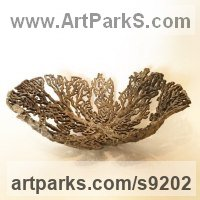 Bronze Aquatic Sculptures Fish / Shells / Sharks / Seals / Corals / Seaweed sculpture by Kirk McGuire titled: 'Coral vessel (big decorative bowl, coarl sculpture, functional art)'