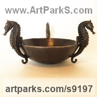 Bronze Round Disk, Dish, Flat Circular Ring Shaped Sculptures / Statues statuette statuary sculpture by Kirk McGuire titled: 'Seahorses vessel (Decorative Marine Bowl Ornament statue)'