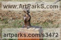 Bronze Females Women Girls Ladies Sculptures Statues statuettes figurines sculpture by Krassimir Rangelov titled: 'Flute Player (small/Little bronze female Musician Figurine/statuetfe)'