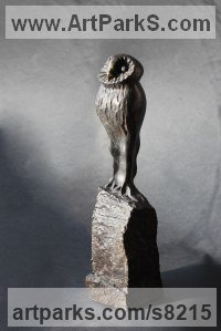 Bronze Birds Sculptures or Statues sculpture by Krassimir Rangelov titled: 'Owlet'