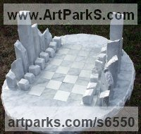 Carrara marble Carved Stone, Marble, Alabaster, Soap Stone Granite Lime stone sculpture by Krystyna Sargent titled: 'Chess as Art - New York (abstract Carved marble Chess Set Game statue)'