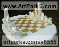 White Cararra marble Allegorical / Parable sculpture by Krystyna Sargent titled: 'Chess as Art - Stone Henge (Carved marble statue)'