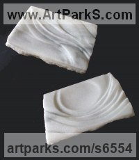 Cararra marble Wall Mounted or Wall Hanging sculpture by Krystyna Sargent titled: 'Pair of platters (Carved marble Relief Panels/Plaques)'