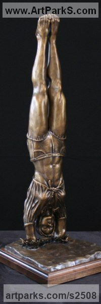 Sculpture of Sport in General by sculptor artist Kurtis Bell titled: 'Diving Daisy (Little Small Bronze Swimmer Girl statuette statue)' in Bronze