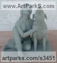 Dogs Sculpture by sculptor artist Kurtis Bell titled: 'Girl Talk (bronze Effect Girl and Dog Cuddle statue sculpture statuette)' in Warm cast bronze.  clay in pictures.