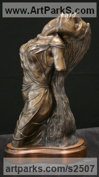 Bronze Sculptures of females by Kurtis Bell titled: 'Isabell my Love (bronze Stylised Girl Lover`s Torso sculpture statue)'