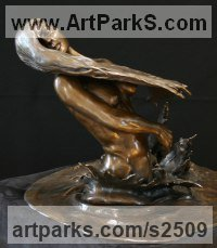Classical Style Sculpture and Statues by sculptor artist Kurtis Bell titled: 'Olivia frolicking in the Surf (Bronze nude statuette figurine statue)' in Bronze