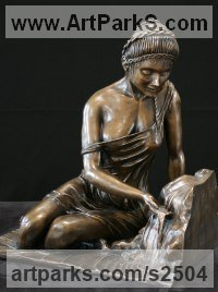 Classical Sculpture and Statues by sculptor artist Kurtis Bell titled: 'Syrene in the moment (bronze Semi Naked female and water statue statue)' in Bronze