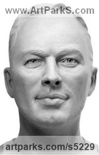 Bronze Famous People Sculptures Statues sculpture by Lancelot Little titled: 'David Gilmour (Commission Bust Head Face bronze Portrait statue)'