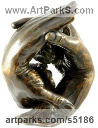Bronze Love / Affection sculpture by Lancelot Little titled: 'Self-Made (bronze Clasped Hands life size statuette)'
