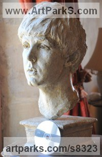 Plaster Pop Art sculpture by Lancelot Little titled: 'Yesterday (Young Paul McCartney Portrait Head Bust statue)'