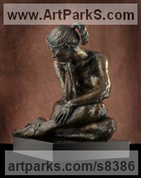Bronze Nudes, Female sculpture by Lara Chamberlain titled: 'Luna (small nude sitting female statuette)'