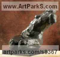 Bronze Nudes, Female sculpture by Lara Chamberlain titled: 'The Final Surrender of Athena (Kneeling nude Torso statue)'
