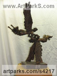 Bronze Angel sculpture by L�szl� Juhos titled: 'Angels (Flying Playing Angels bronze small sculptures)'