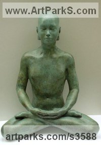Bronze Buddha sculpture figurines statuettes sculpture by sculptor Laura Lian titled: 'Buddha Meditation in Bronze (Bronze sculpture sitting pose)'