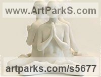 White Marble Resin Buddha sculpture figurines statuettes sculpture by sculptor Laura Lian titled: 'Buddha Set small (Contemplation/Meditation White marble 3 statuettes)'