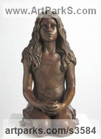 Bronze Teenagers sculpturettes Portraits figurines commissions etc sculpture by sculptor Laura Lian titled: 'Child of Hope (life size Bronze Kneeling Teenage Girl statues/sculpture)'