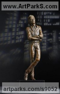 Bronze Resin Male Men Youths Masculine Statues Sculptures statuettes figurines sculpture by Laura Lian titled: 'David Bowie (Memorial Tribute Maquette statue sculpture)'