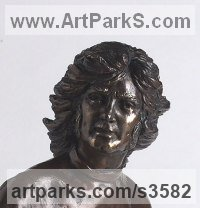 Bronze Sculptures of Sport in General by Laura Lian titled: 'George Best (Bronze Head/Face/Bust Footballer Portrait sculpture/statue)'