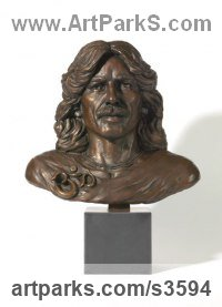 Bronze Busts and Heads Sculptures Statues statuettes Commissions Bespoke Custom Portrait Memorial Commemorative sculpture or statue sculpture by Laura Lian titled: 'George Harrison (Bronze Head Pop Portrait sculptures)'