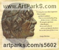 Resin Bronze on Poplar wood Pop Art sculpture by Laura Lian titled: 'George Harrison (Portrait Profile/Face/Bust sculpture/statues and quo)'
