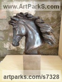 Bronze Resin Horses Small, for Indoors and Inside Display sculpturettes Sculptures figurines commissions commemoratives sculpture by sculptor Laura Lian titled: 'Horse Head II (Bronze resin Horse Head Bust statuette statue)'