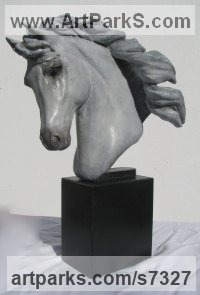 Bronze Horses Small, for Indoors and Inside Display sculpturettes Sculptures figurines commissions commemoratives sculpture by sculptor Laura Lian titled: 'Horse Head I (Bronze Small Horse Head Bust sculpture statuette)'