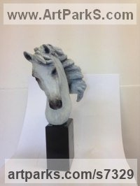 Bronze Horse Head or Bust or Mask or Portrait sculpture statuette statue figurine sculpture by Laura Lian titled: 'Horse Head III (White bronze)'