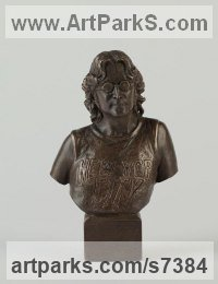 Bronze Busts and Heads Sculptures Statues statuettes Commissions Bespoke Custom Portrait Memorial Commemorative sculpture or statue sculpture by Laura Lian titled: 'John Lennon Bust (Small Portrait Head sculpture)'