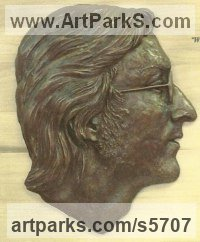 Bronze resin Pop Art sculpture by Laura Lian titled: 'John Lennon (Bas/Low Relief Portrait Head/Face sculptures/statue)'