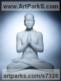 Marble Resin Human Figurative sculpture by Laura Lian titled: 'marble resin Buddha (Larger contemplating sculptures)'