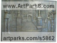 Bronze Resin Trompe l`Oeil Low Relief Panel Sculptures / Statues / panels sculpture by Laura Lian titled: 'Memorial Commemorative Plaque (Small Arms School Hythe bas Relief)'